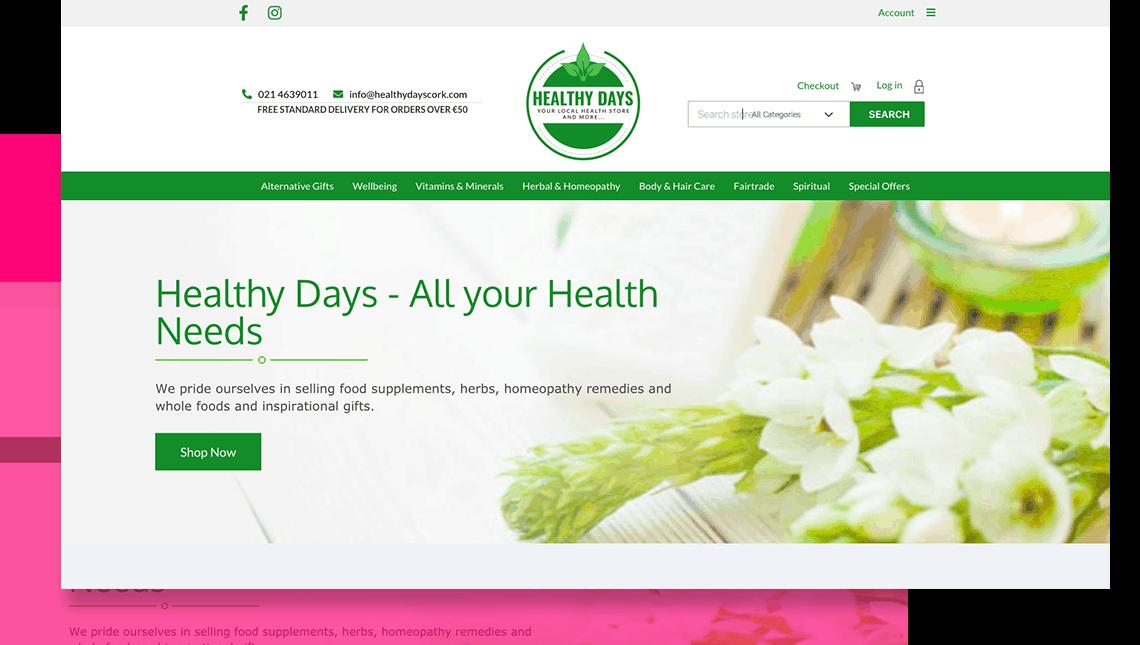 eCommerce website design for Cork shop